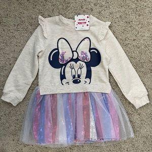 Disney Minnie Mouse Pink Tutu Sweater Dress NWT